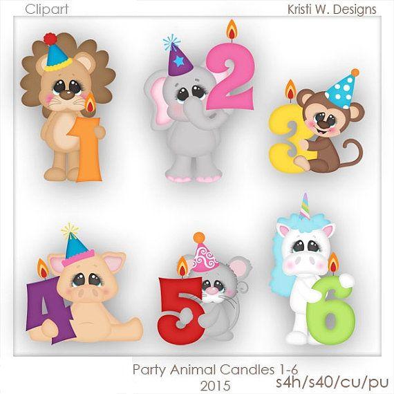 Digital Scrapbooking Clipart Party Animals Birthday Numbers Etsy Digital Scrapbooking Clipart Clip Art Animal Birthday