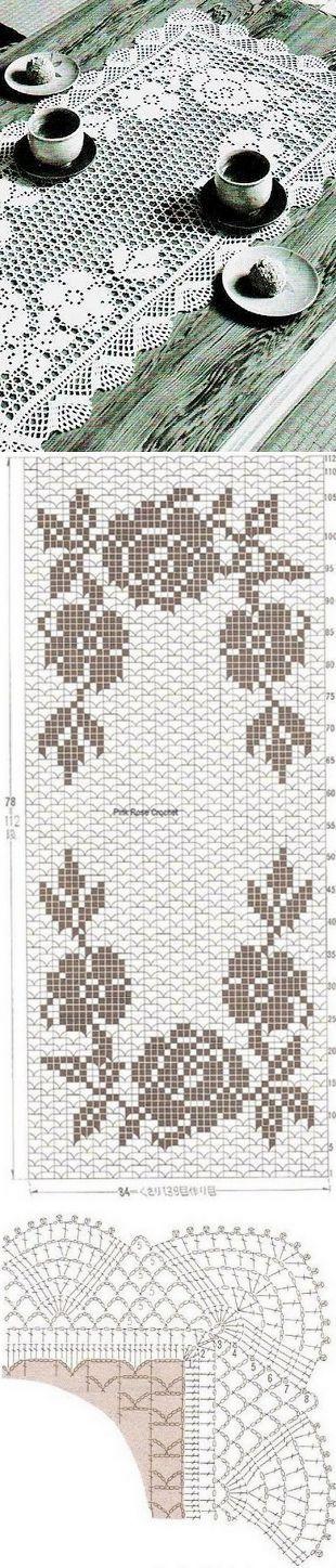Белоснежная салфетка прямоугольной формы с розами. | Рукоделие | Постила