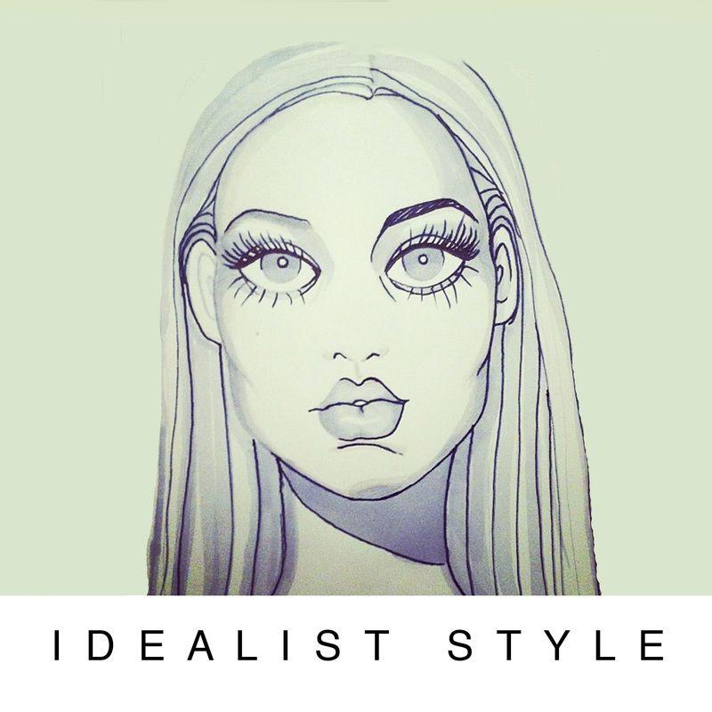 IDEALIST STYLE, Fashion Illustration, design, fashion designer, futuristic, retro, fairytale.  Portrait.