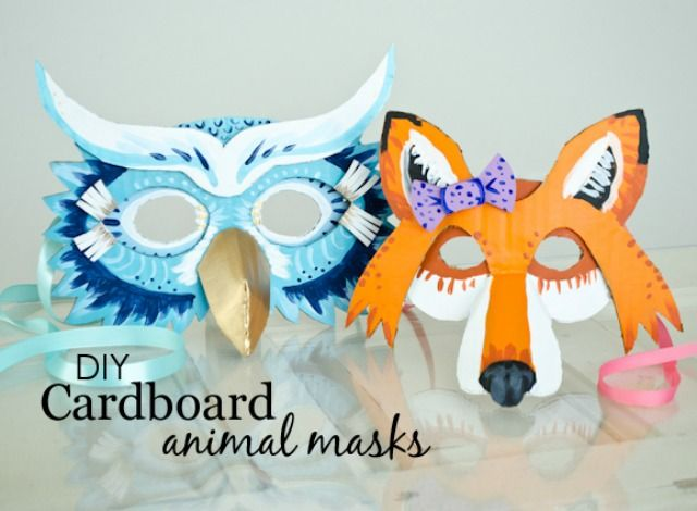 Diy cardboard animal masks for halloween diy cardboard for Cardboard halloween decorations diy