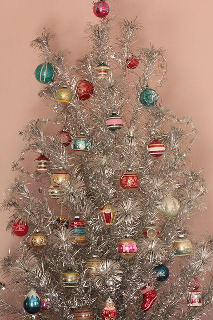 Shiny And Brite Retro Christmas Tree Vintage Christmas Tree Silver Christmas Tree