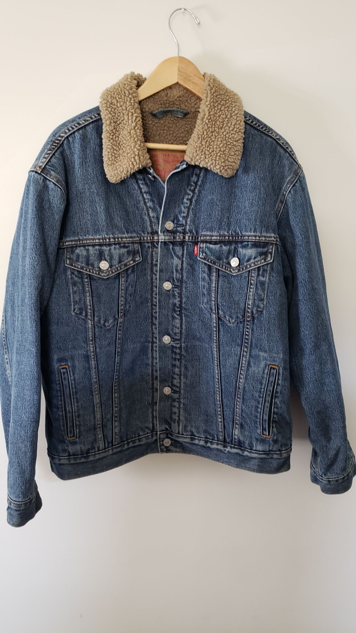 Vintage 90 S Levis Denim Sherpa Jean Jacket Coat Size Xl Winter Cowboy Western Trendy Cold Style By Rackr Fashion Plaid Shirt Levis Denim Outfits With Hats