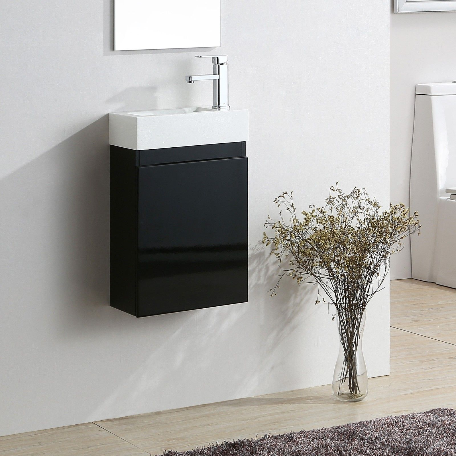 Bathroom Cabinets 400mm Wide elsa 400mm wall hung black gloss vanity unit white diamond