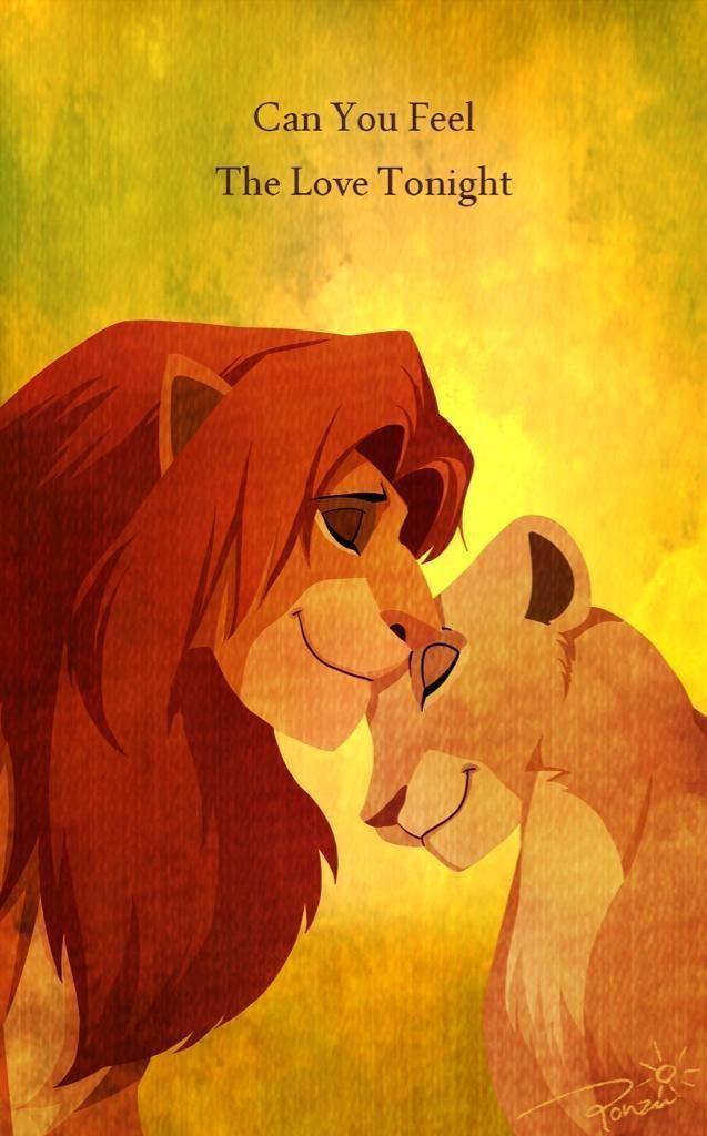 Can You Feel The Love Tonight Simba And Nala The Lion King Art