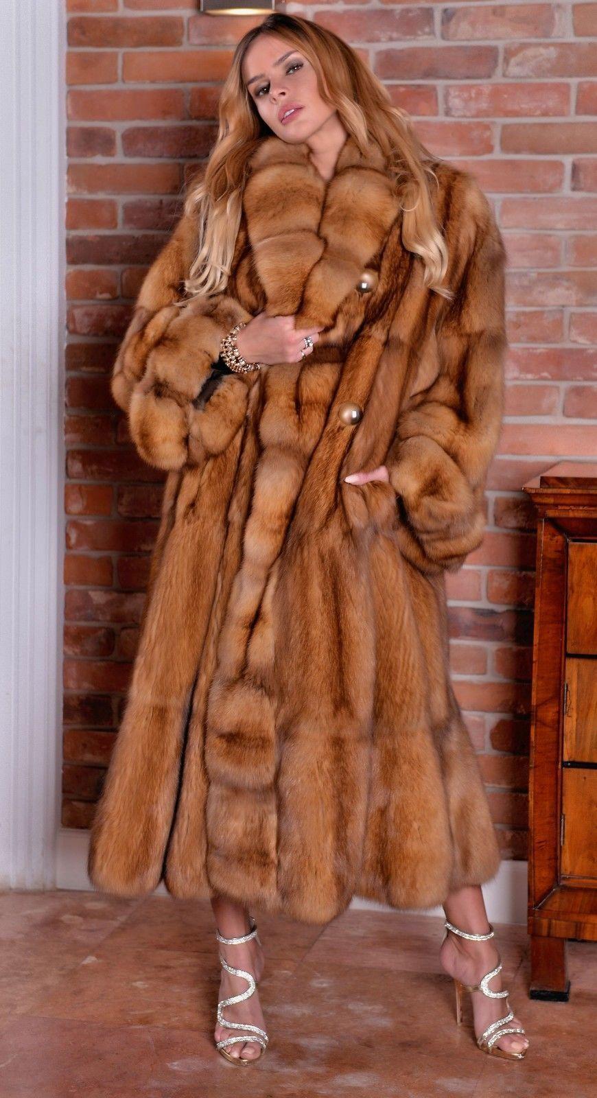 6e9521633 NEW GOLD RUSSIAN SABLE FUR SWINGER COAT CLASS OF JACKET MINK FOX LYNX  CHINCHILLA   eBay