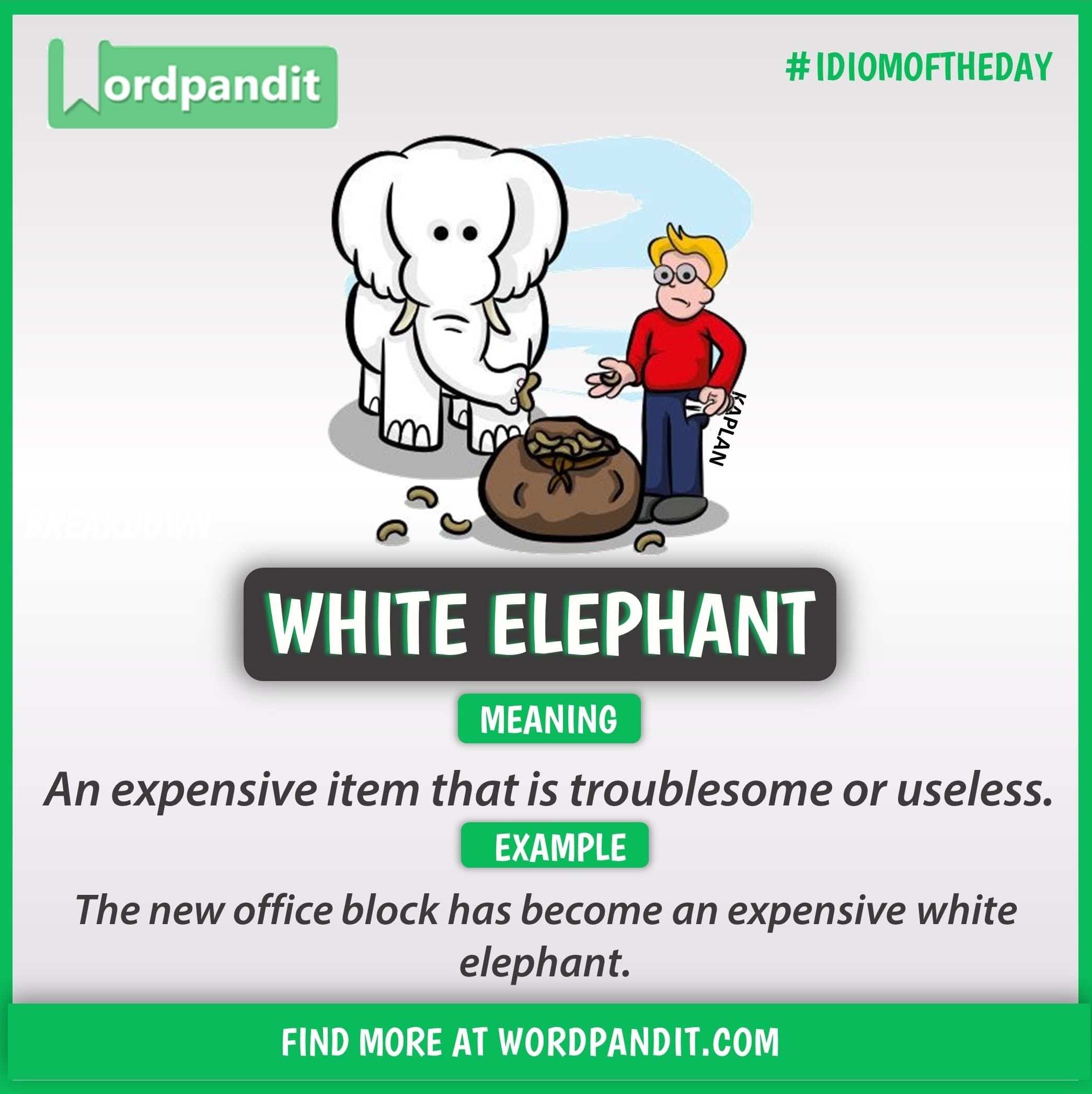 Idiom Of The Day White Elephant Learn English Vocabulary Learn