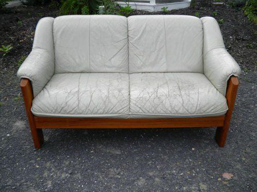 Fancy   Vintage Ekornes Danish Modern Teak Leather Sofa Mid Century Modern  Eames Era MoD |