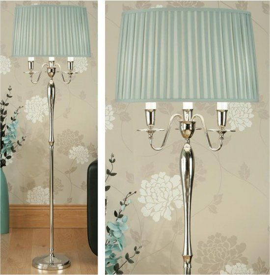 Floor Lamp With Duck Egg Blue Shade Living Room