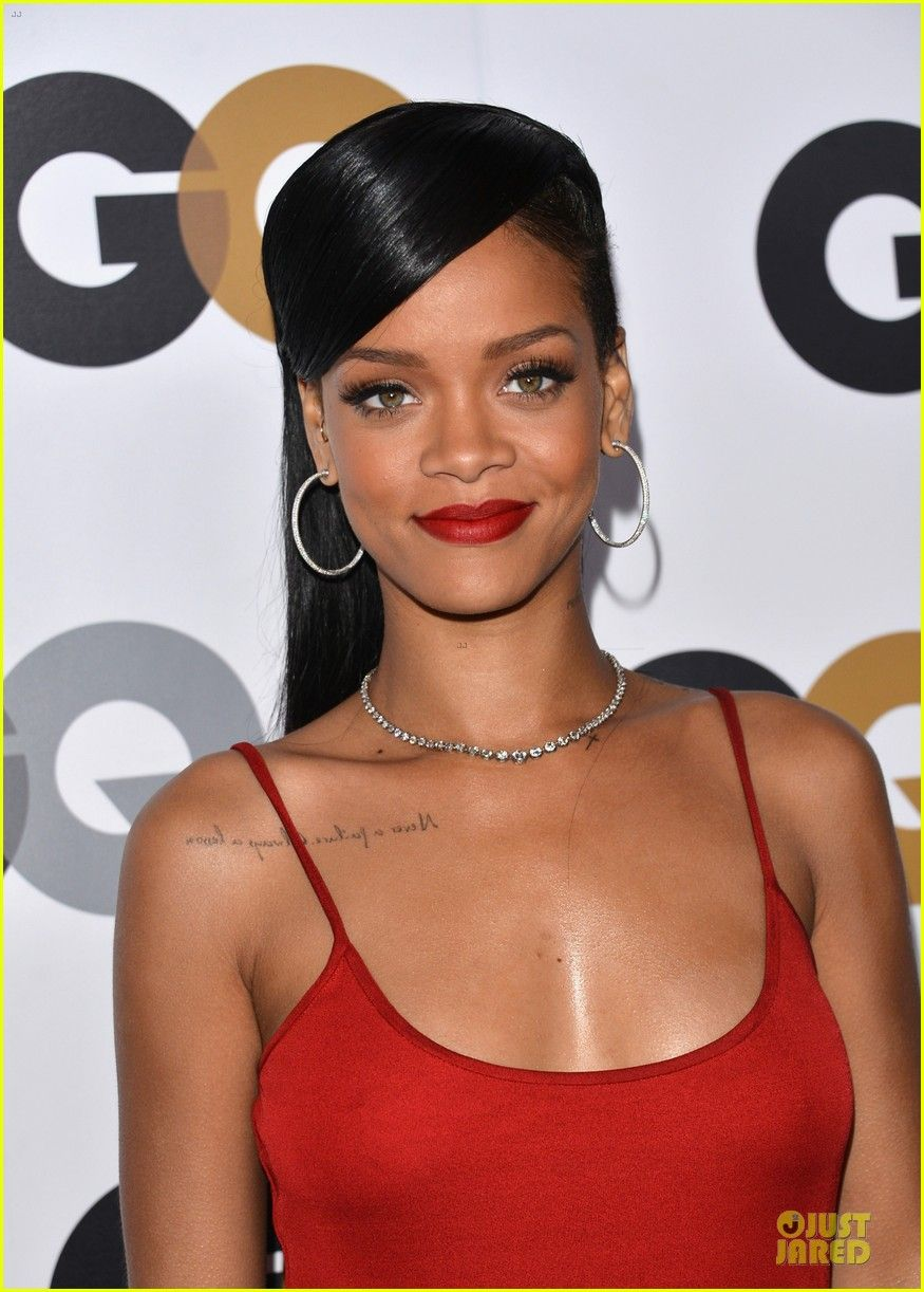 Rihanna Long Hairstyle Lengthy Dark Straight For Women