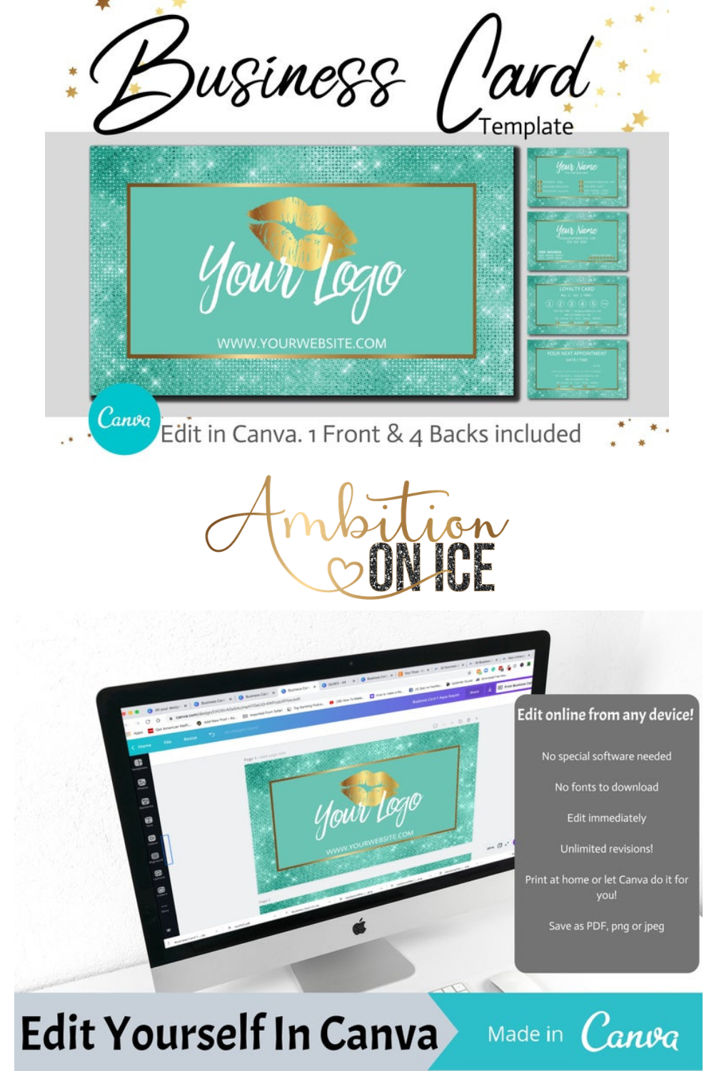 Diy Aqua Diamond Sequin Business Cards Canva Template Gold Business Card Design Appointment Card And Loyalty Card Instant Download Glitter Business Cards Sequin Business Cards Business Card Design