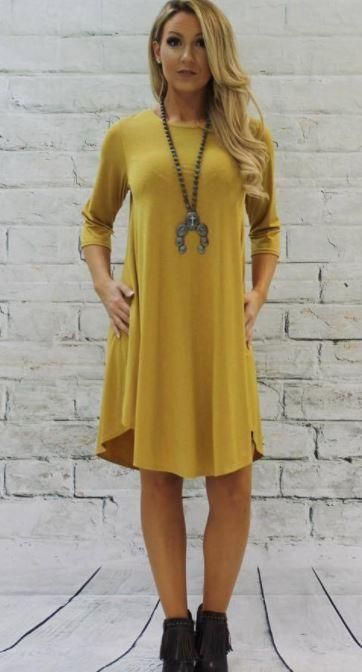 cb3838f924 L B Mustard Swing dress with pockets