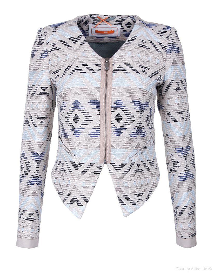 Hugo Boss Orange Ladies' Otula Printed Short Jacket Blue