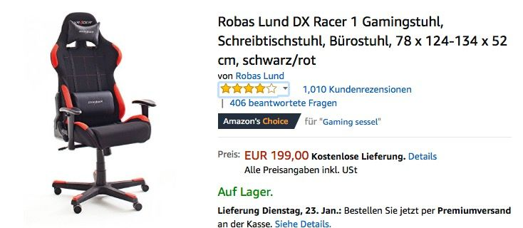 Robas Lund Dx Racer 1 Gamingstuhl Lund Schreibtischstuhl Computer