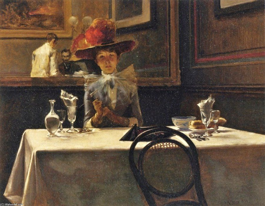 'The Corner Table' by Irving Ramsey Wiles (1861-1948, United States)