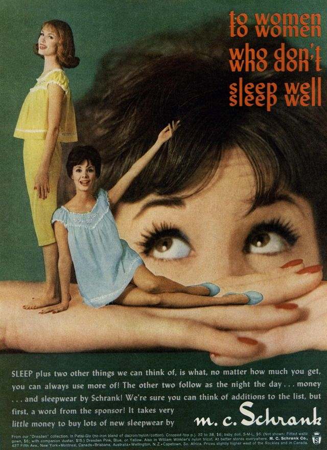 Schrank Ad Campaign Spring Summer 1960 Shot 1 Better Sleep Ad Campaign Baby Doll Nighties