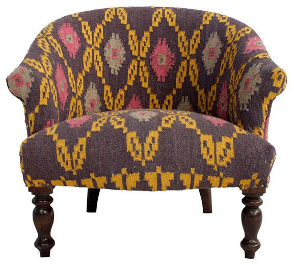 Delightful Multi Kilim Arm Chair Eclectic Armchairs
