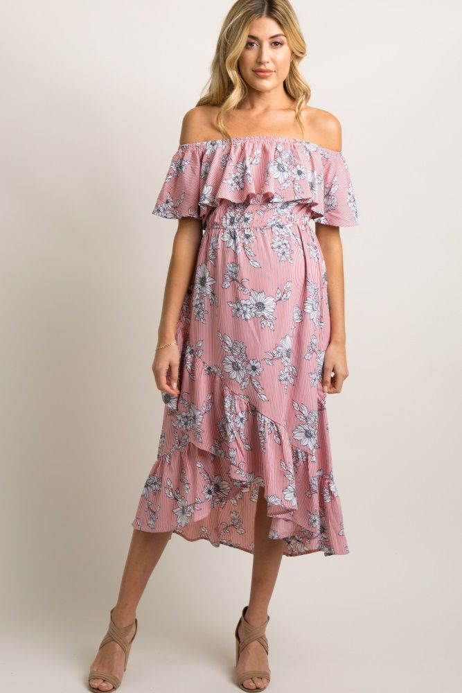 b229e6cadb669 Red Striped Floral Ruffle Wrap Maternity Midi Dress Maternity Midi Dress, Pink  Blush Maternity,