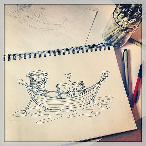'Ti amo'. Working on a new illustration :) #thejellyempire #valentinesday #italy #venice #love #WIP