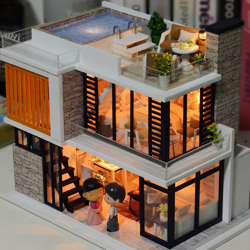 Diy loft apartments dollhouse wooden furniture led kit christmas birthday ts also rh pinterest