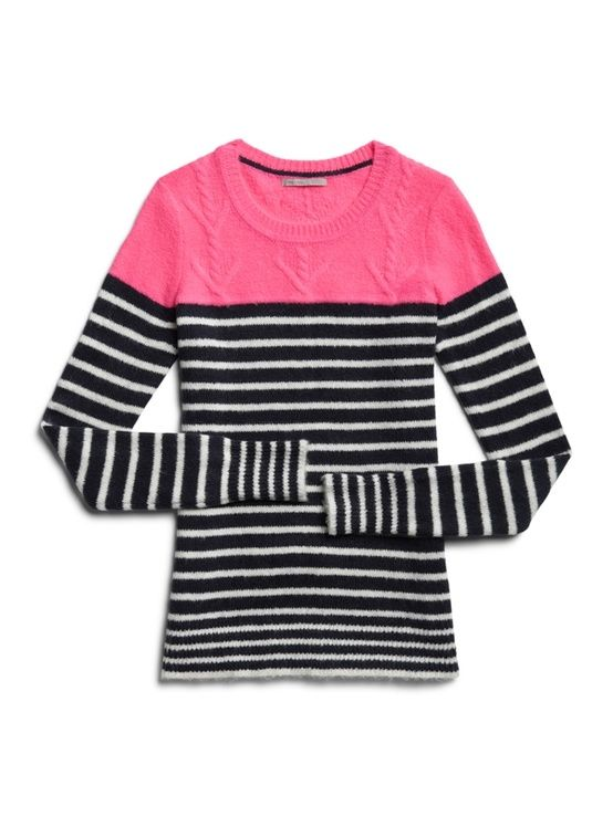 c942a02c26 Color block stripe cable sweater Gap!