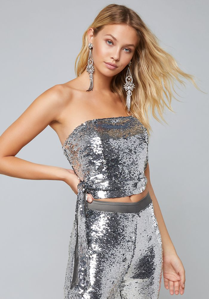 11b34678e6 Bebe Women's Sequin Strapless Top, Medium, Silver   Products ...