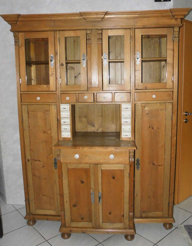 Schrank Antik Vitrine Wandschrank Um 1900 Kiefer Gewachst 3teilig Glastren TOP