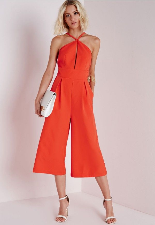 b3865310f8a Keyhole Culotte Jumpsuit Orange - Jumpsuits - Evening Jumpsuits - Missguided