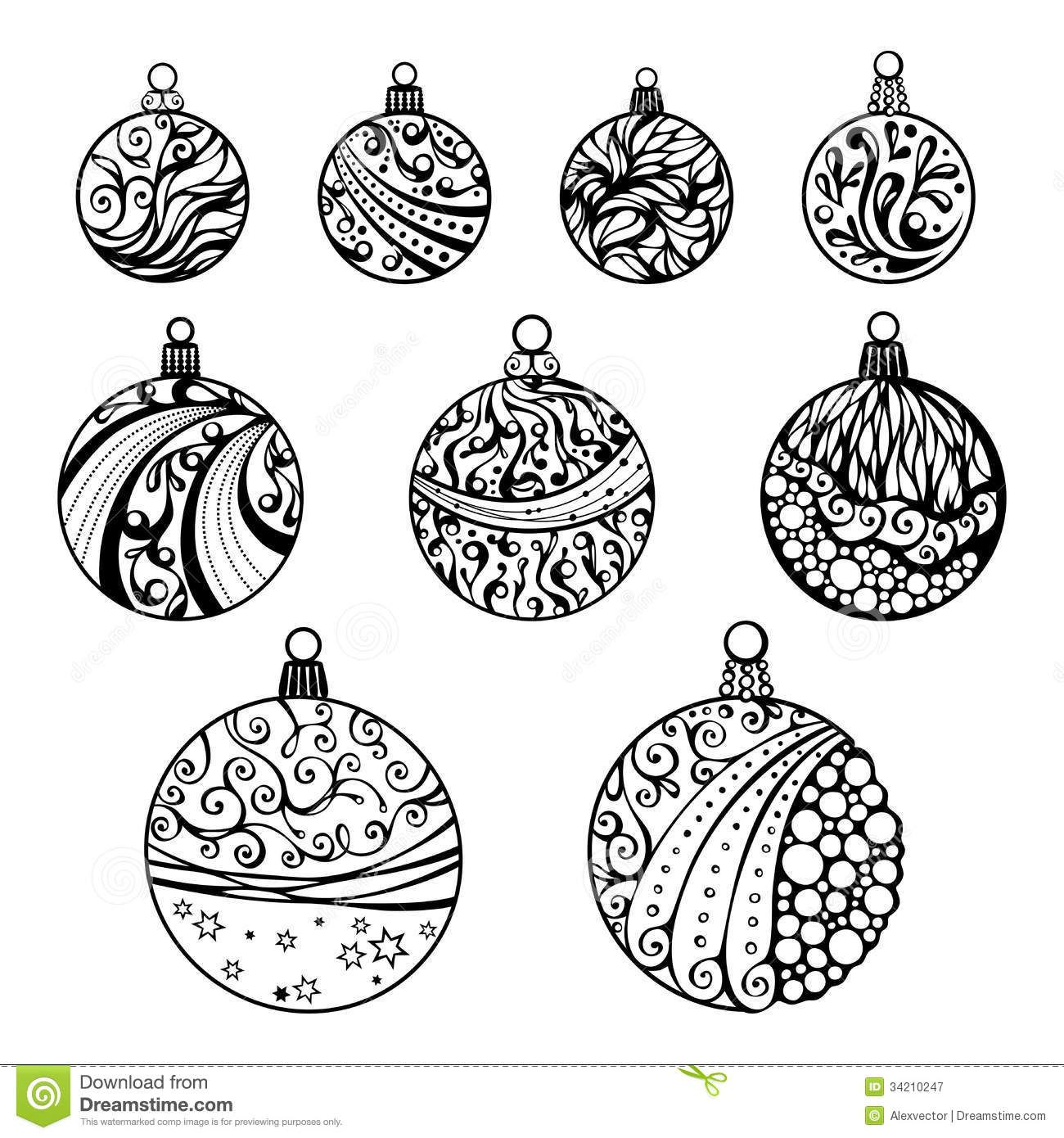 coloring pages christmas baubles clip - photo#3