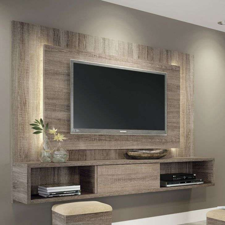 Lighting in between tv and plank boards tv living room for Muebles para led 50 pulgadas