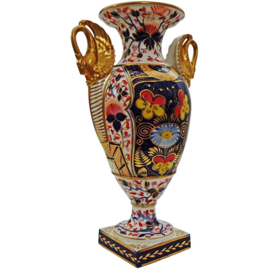 Royal crown derby king street imari style porcelain vase urn royal crown derby king street imari style porcelain vase urn with gilt swan shape handles c1861 1935 england reviewsmspy