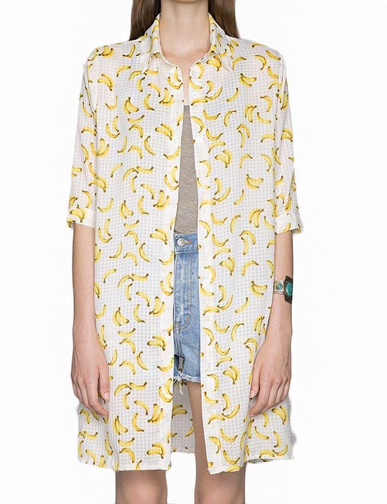 Banana Print Tops - Graphic Chiffon Blouses - Fall Trends