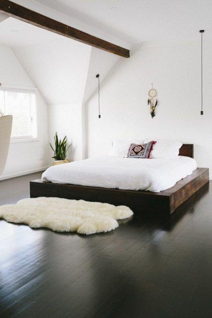 Decoracion Minimalista Dormitorio Cama De Madera Paredes Blancas