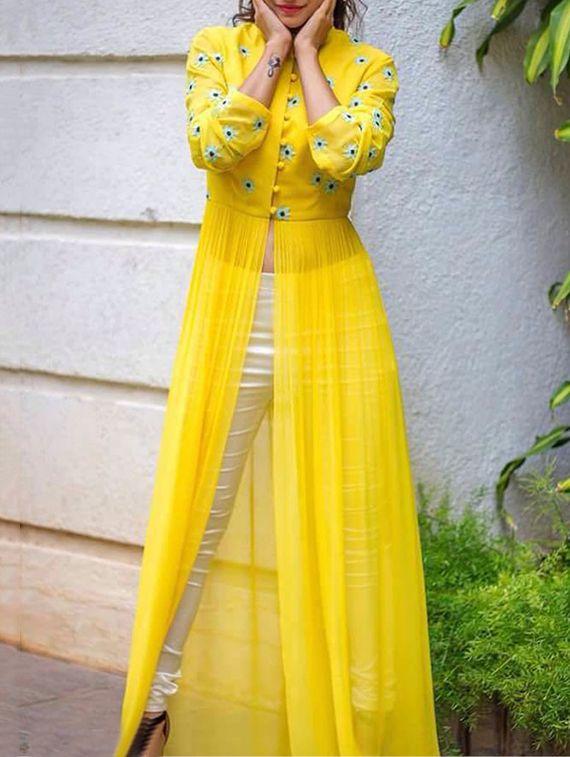 04b353a8e18 Thankar Yellow Georgette Semi Stitched Suit. Sign in Haldi Ceremony