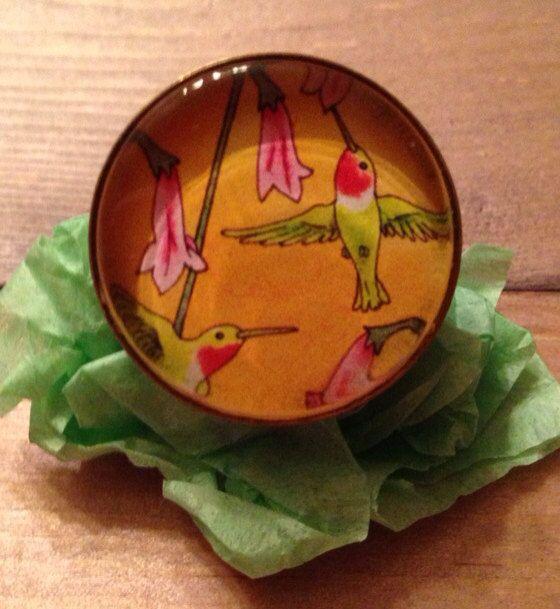 Hummingbird art Ring by amyweberart on Etsy