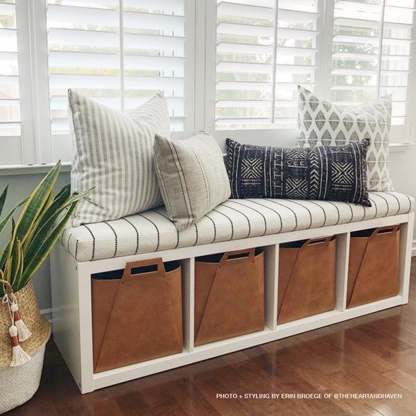 Toulouse Foam Bench Cushion, Onyx (IKEA hack, Kallax shelf