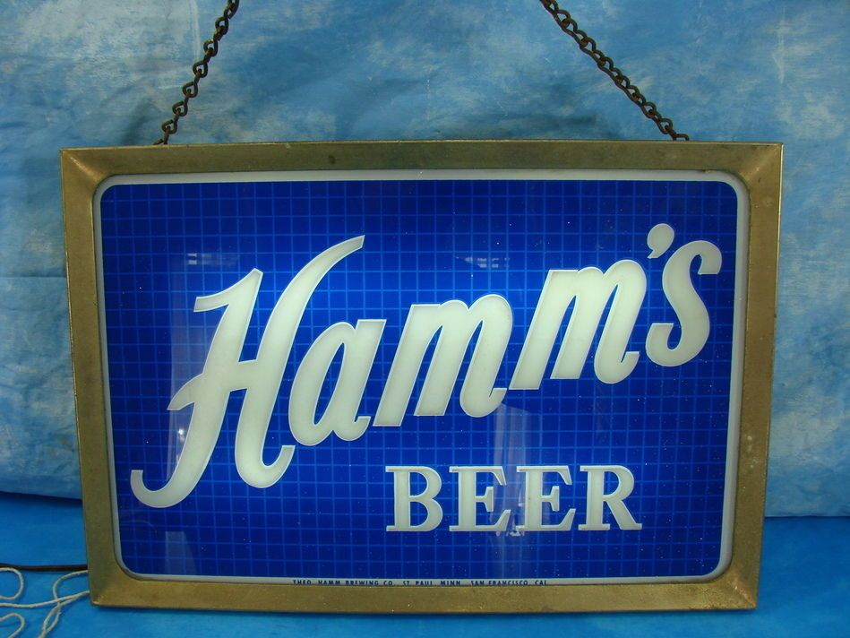 Electric Man Cave Signs : Vintage brass hamm s beer sign double sided electric works