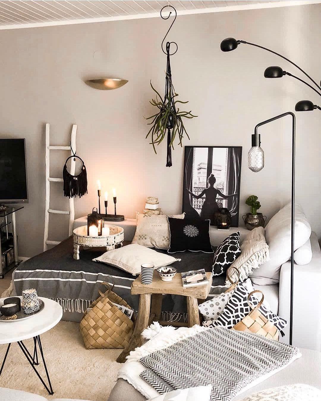 Bohemian Neutral Boho Living Room