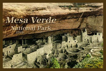 Mesa Verde National Park  - 1910 Postcard.  Printed on cotton.  Ready to sew. Single 4x6 block $4.95. Set of 4 - 4x6 blocks with a free wall hanging pattern $17.95
