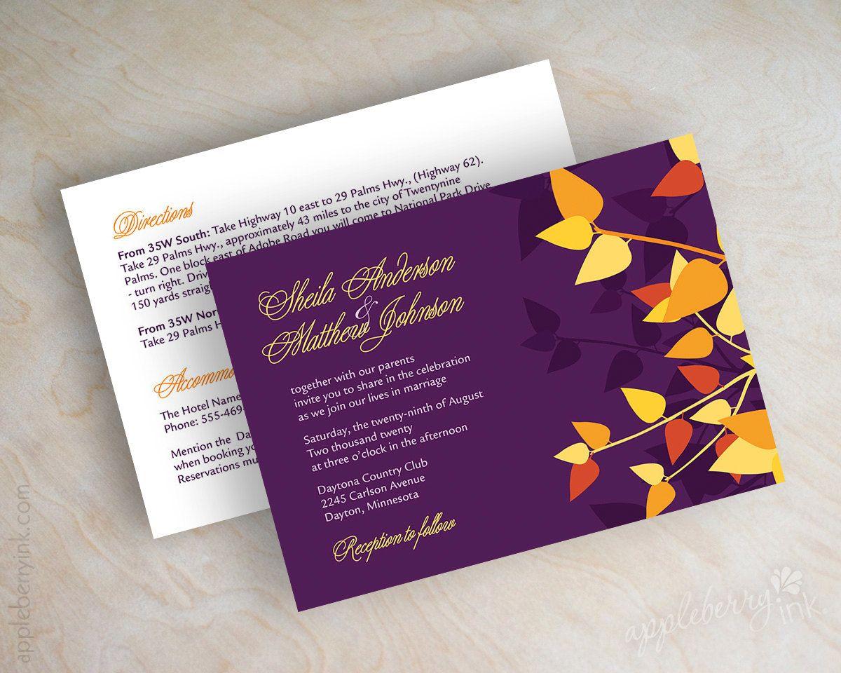 Orange And Purple Wedding Invitation Leaf Wedding By Appleberryink