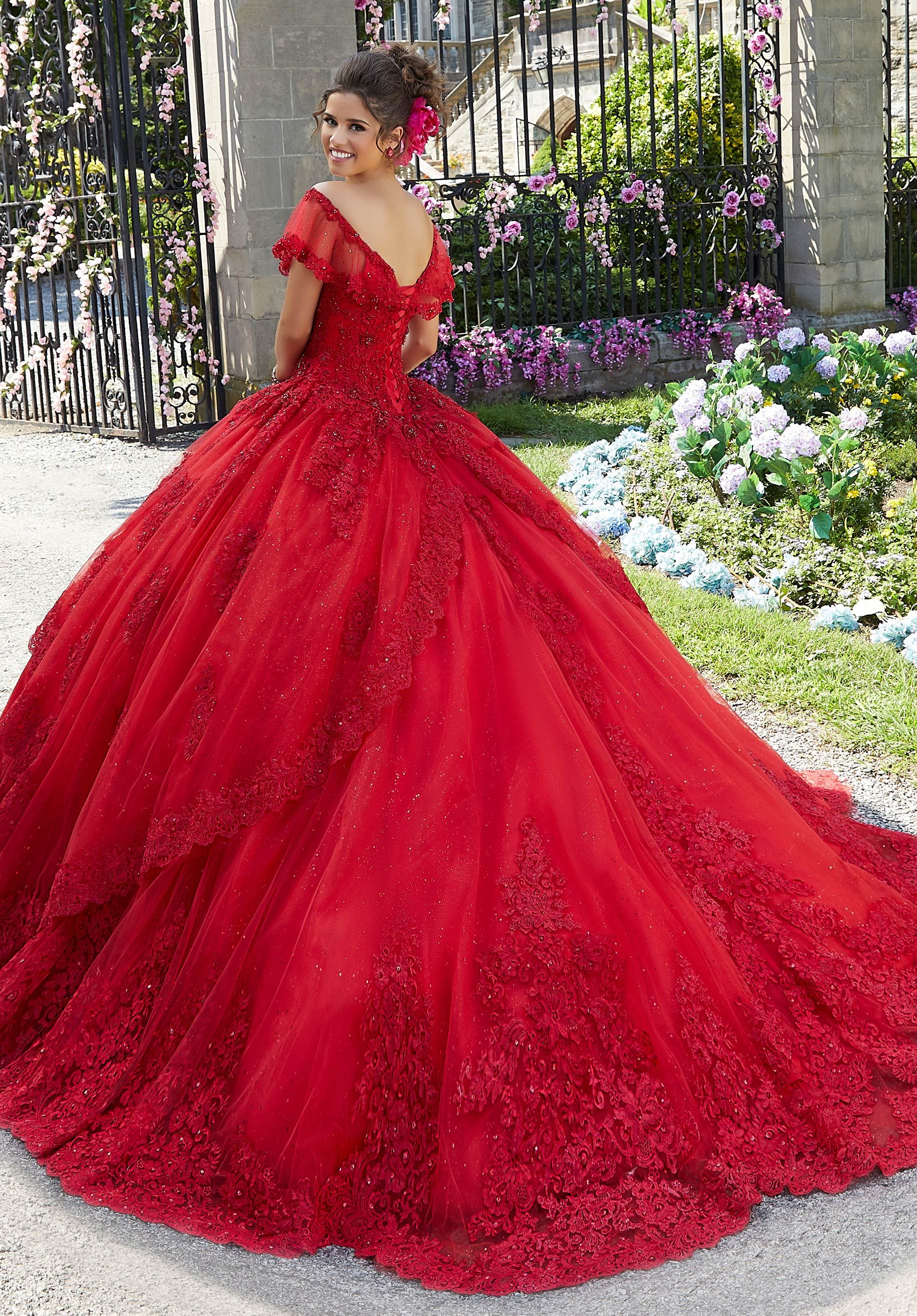 Princess Tulle And Glitter Tulle Quinceanera Dress Morilee Style 34025 Red Wedding Gowns Pretty Quinceanera Dresses Red Wedding Dresses [ 2630 x 1834 Pixel ]