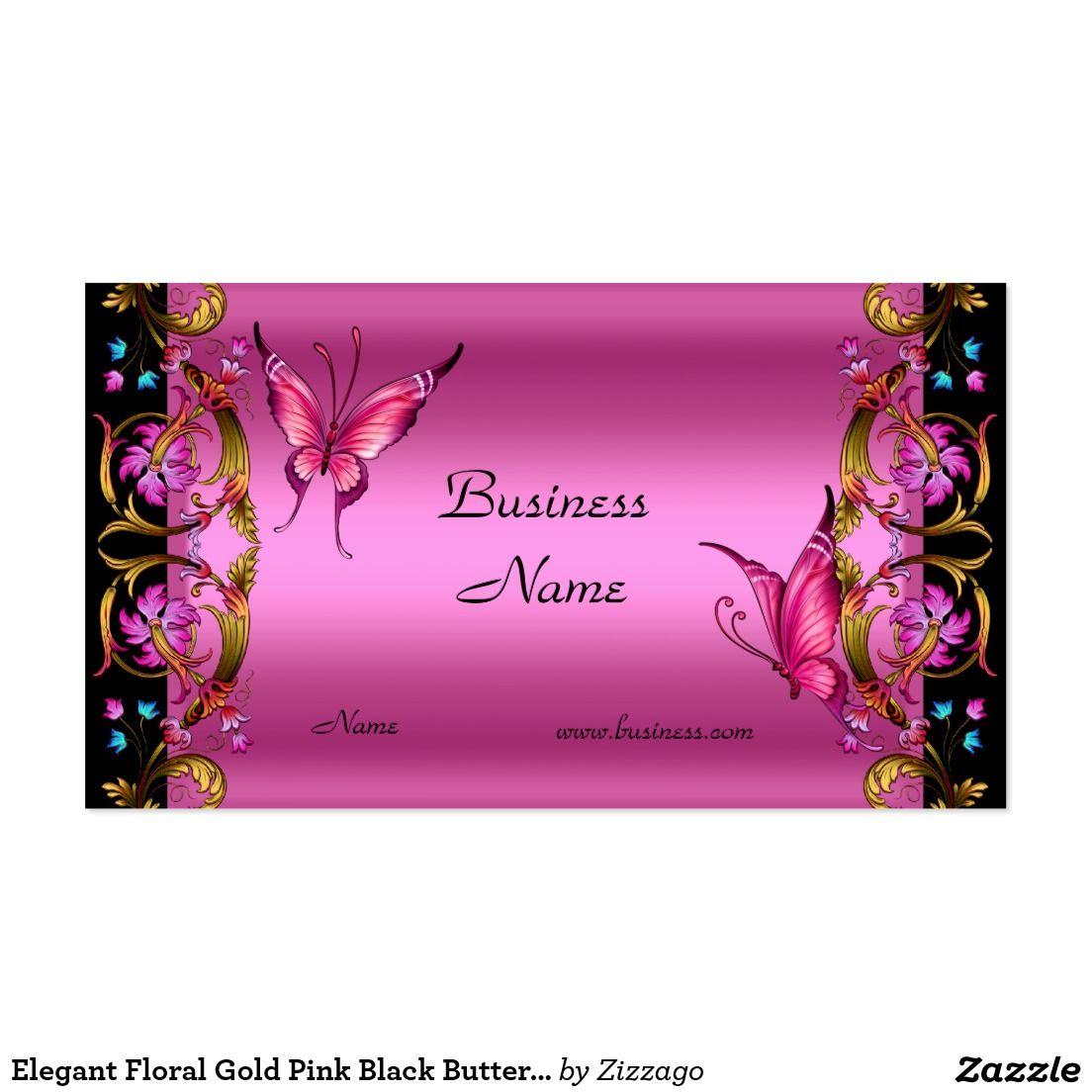 Elegant Floral Gold Pink Black Butterfly Business Card   Pink ...