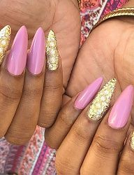 Gold Stiletto Nails | lovenails forward nails quenalbertini instagram photo by nails ...
