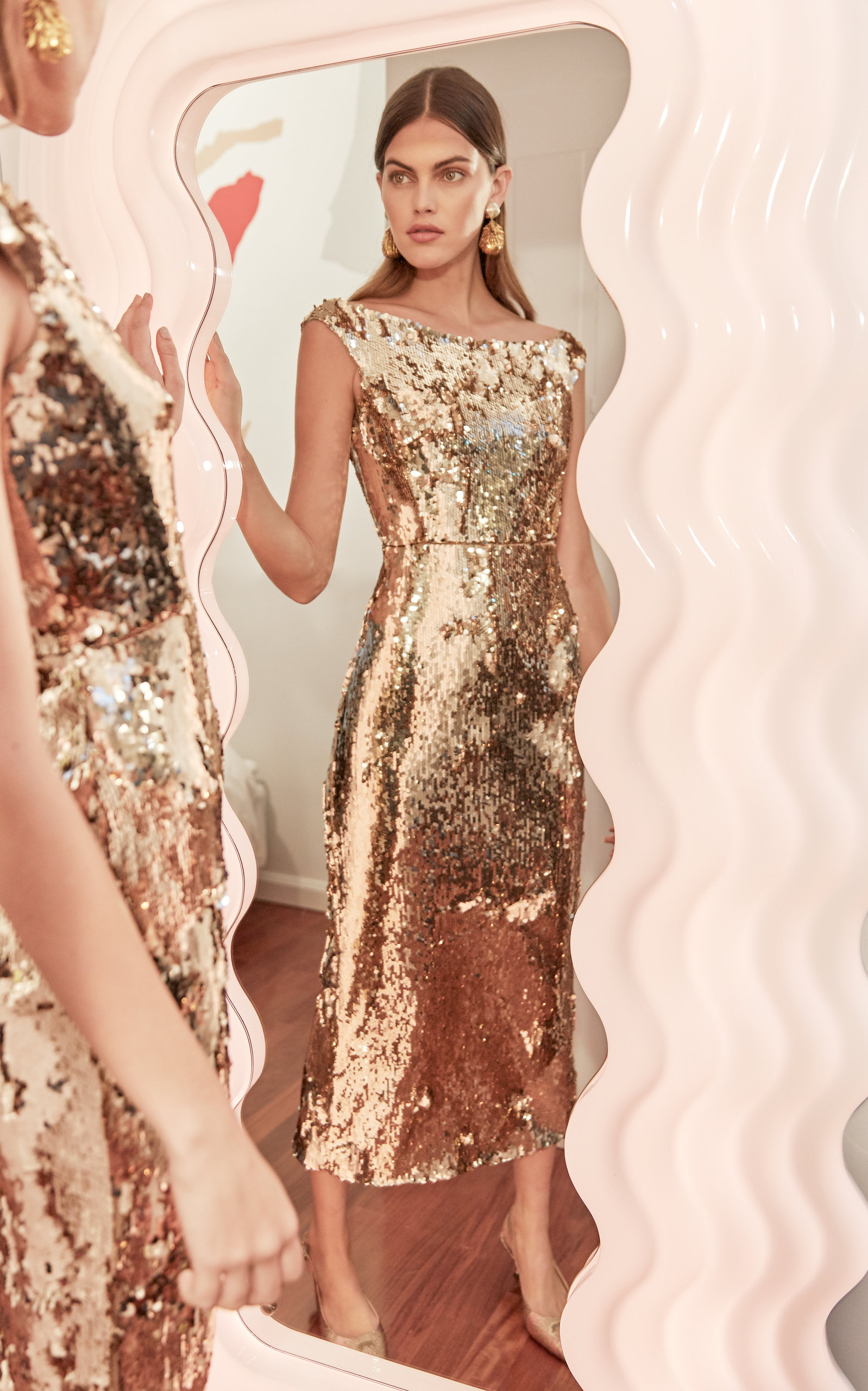 5180049a Saloni Exclusive Therese Off-The-Shoulder Sequin Midi Dress in 2019 ...