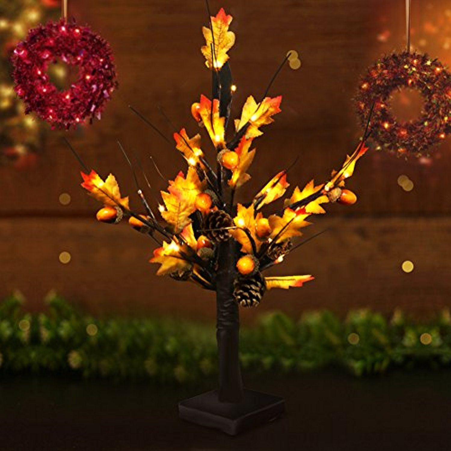 Bright Zeal 19 5 Maple Tree Lights Battery Operated Led Artificial Christmas Trees Wi Xmas Tree Lights Christmas Table Top Decorations Pine Cone Decorations