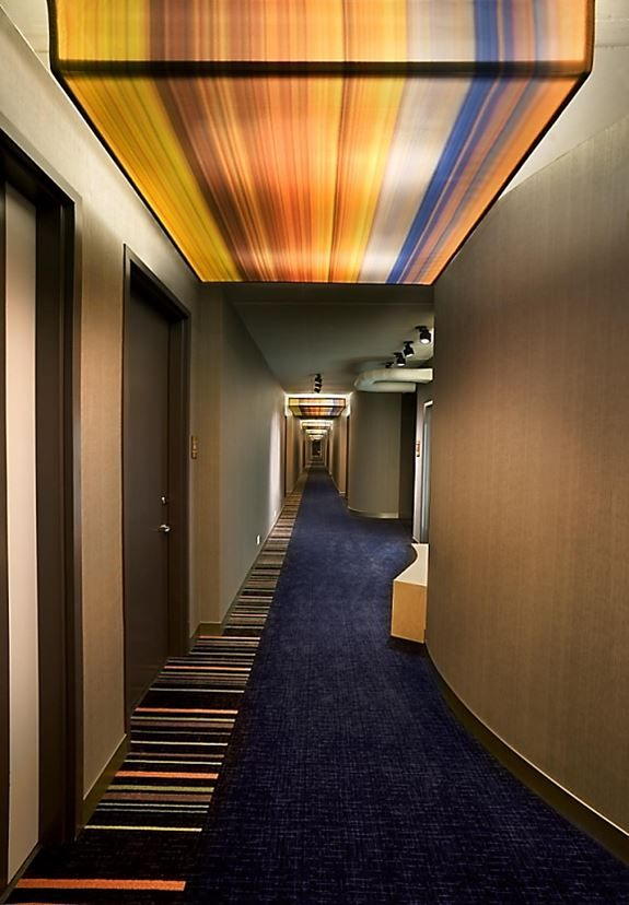 Aloft Hotel Corridor (printed fabric lighted boxes)  Acoustics, Ceilings & Walls ...
