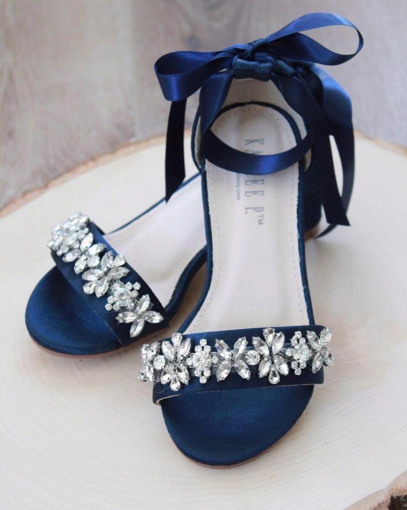 Navy Blue Satin Block Heel Sandals With Floral Rhinestones On Upper Strap In 2020 Bridesmaid Shoes Blue Wedding Sandals Bride Heels