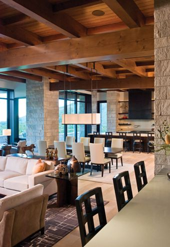 Stone And Wood Coffered Ceiling   Living Room, Dining Room, Kitchen    Modern Rustic