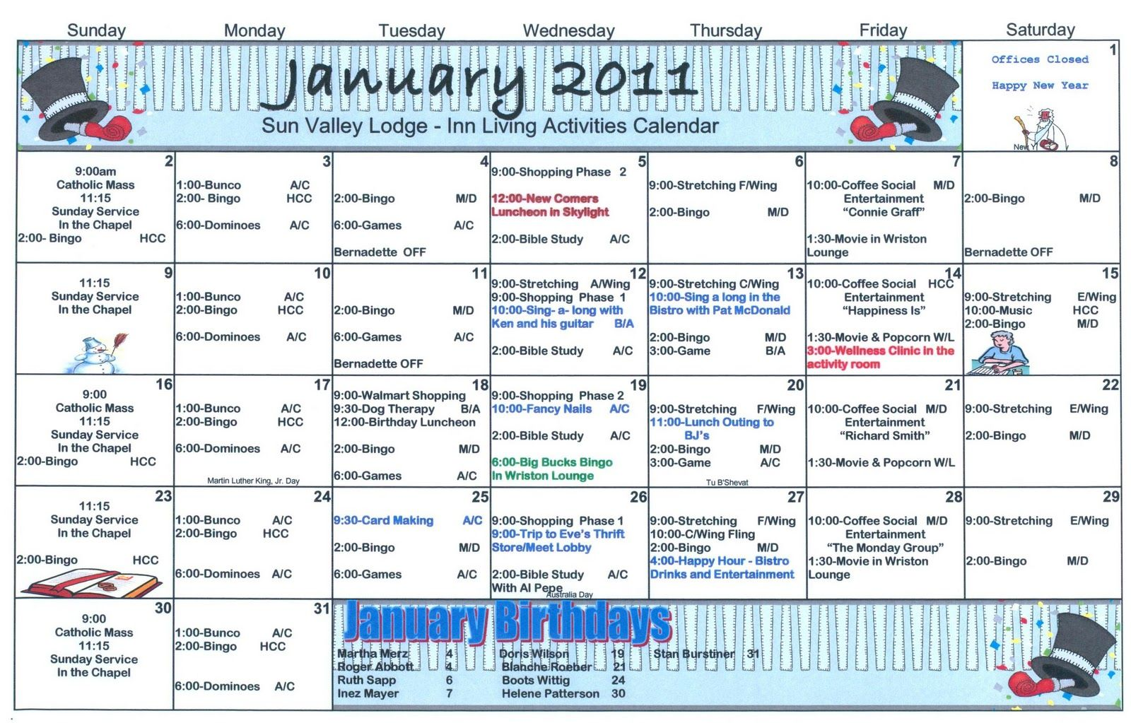 Sample Activities Calendars  Activities Dementia And Elderly