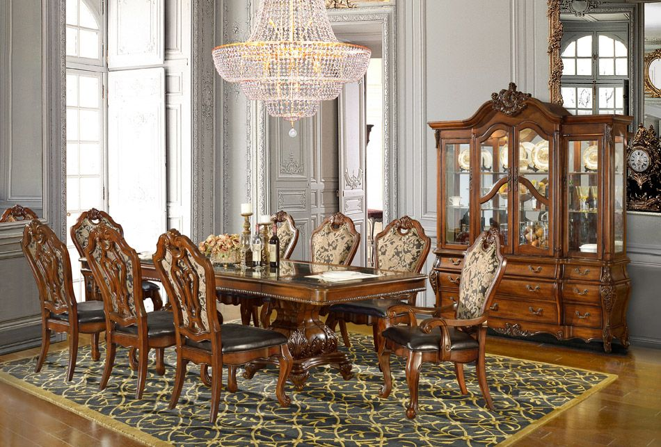 7 Pc Britania Collection Old World Style Dining Table Set With Carved  Accents And Padded Seats