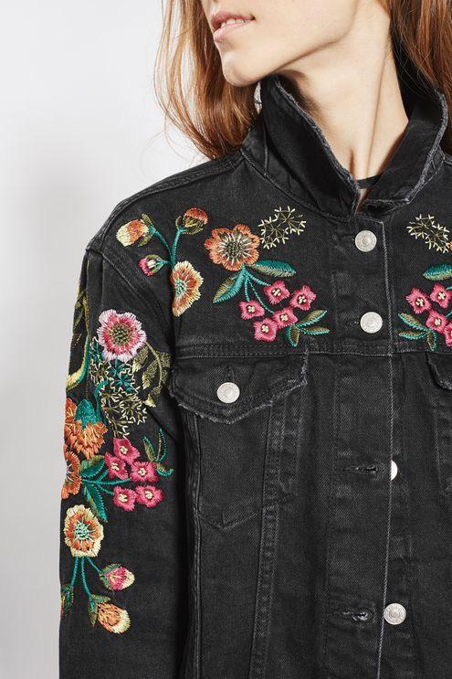 MOTO Floral Embroidered Denim Jacket - Topshop